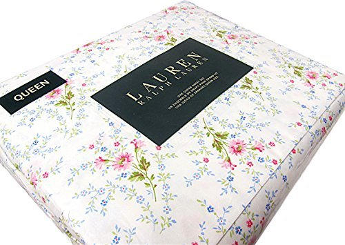 Ralph Lauren 4 Piece Queen Sheet Set Pink Blue Green Floral White French Country ()