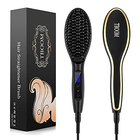 tboom cepillo planchas de cabello secador calefacción rápida, antiestática cierre automático de temperatura con pantalla