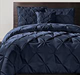 4pc Navy Blue Pintuck Comforter Queen Set, Polyester, Dark Blue Adult Bedding Master Bedroom Stylish Solid Color Pattern Puckered Diamond Design Geometric Tufted Elegant French Country Traditional