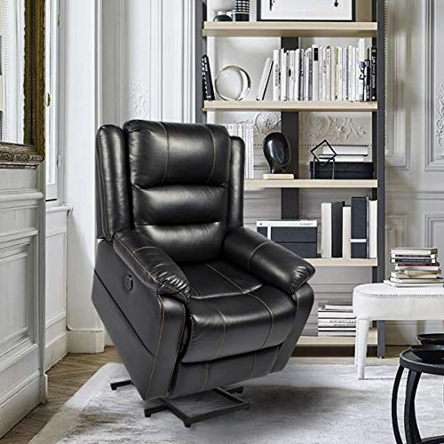 YODOLLA Electric Power Lift Chair Massage&Heat Recliner Chair, Black Faux Leather Recliner for Elder People with 2 Side Pockets, Cup Holder,USB Port Remote Control
