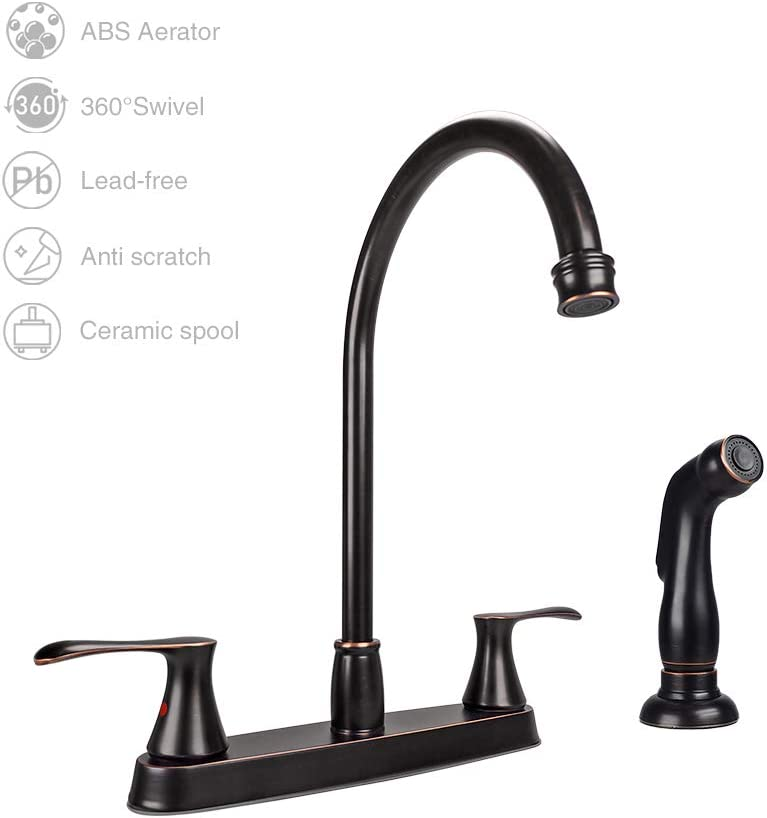 GOWIN Kitchen Faucet with Side Sprayer High Arc 2-Handle Kitchen Sink Faucet, 8 Inch Lead Free Oil-Rubbed Bronze Kitchen Faucet
