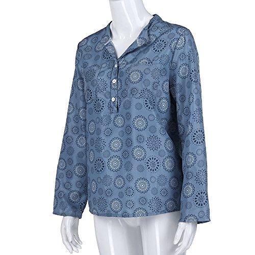 Femmes Impression Boutons Chemise Tops Vous Blouse ArrTez LianMengMVP Manche Bleu Taille Pois Grande Longue TpxfRdqfw