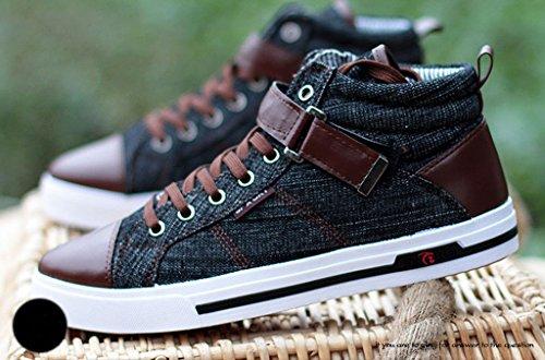 Advogue Herren Freizeit Denim Canvas Schuhe High Top Flache Sneaker Turnschuhe Schwarz