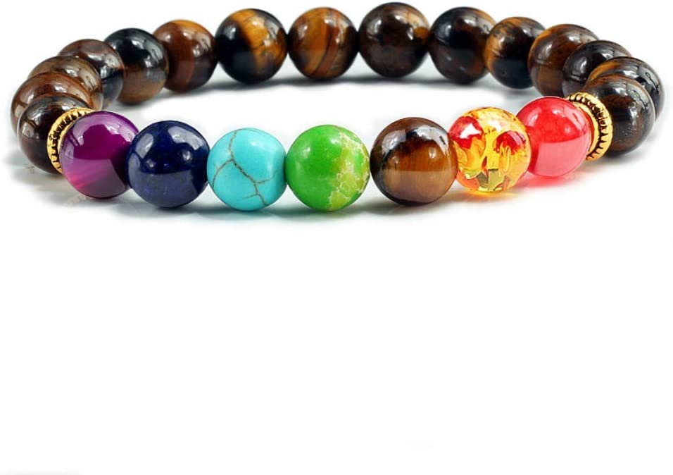 XIANNU Pulseras para Mujer,Ojo de Tigre Piedra Natural 7 Chakra Brazaletes Pulseras de Perlas de Equilibrio Yoga Buda oración Pulsera Hombres pulseira elástico marrón Masculina