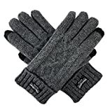 Bruceriver Women's Pure Wool Knitted Gloves with Thinsulate lining and Diamond Design (XL, Grey Touchscreen)