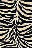 Black 3X8 Carved Black Or White Zebra Skin Modern Runner Rug