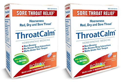 Throat Tab Sore 60 (Throat Calm Sore Throat Relief Homeopathic Medicine Adults and Kids (Pack of 2) with Arnica Montana, Belladonna, Bromium, Bryonia and Pulsatilla, 60 Tablets Each)