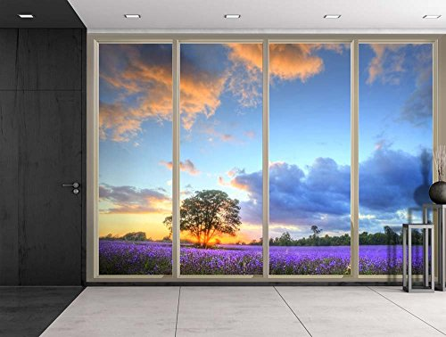 Lone Tree on a Field of Purple Flowers as the Sun Rises Viewed From Sliding Door Creative Wall Mural Peel and Stick Wallpaper