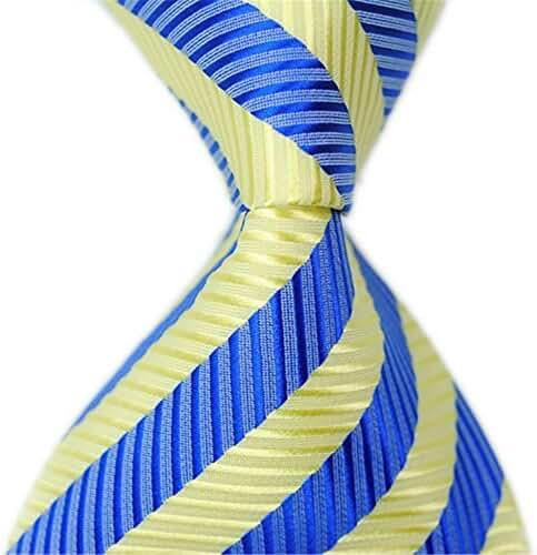 Allbebe Classic Striped Yellow Blue Jacquard Woven 100% Silk Men's Tie Necktie
