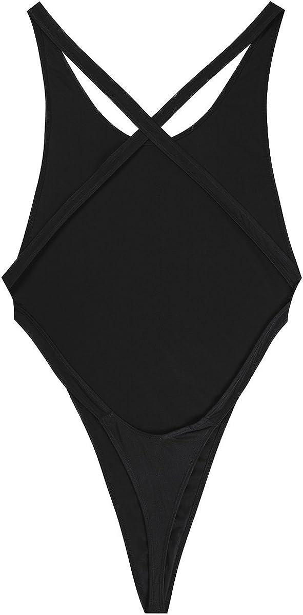 JEATHA Mens Stretchy Mankini Crossover High Cut G String Thongs Leotard Bodysuit Sissy Bikini Underwear