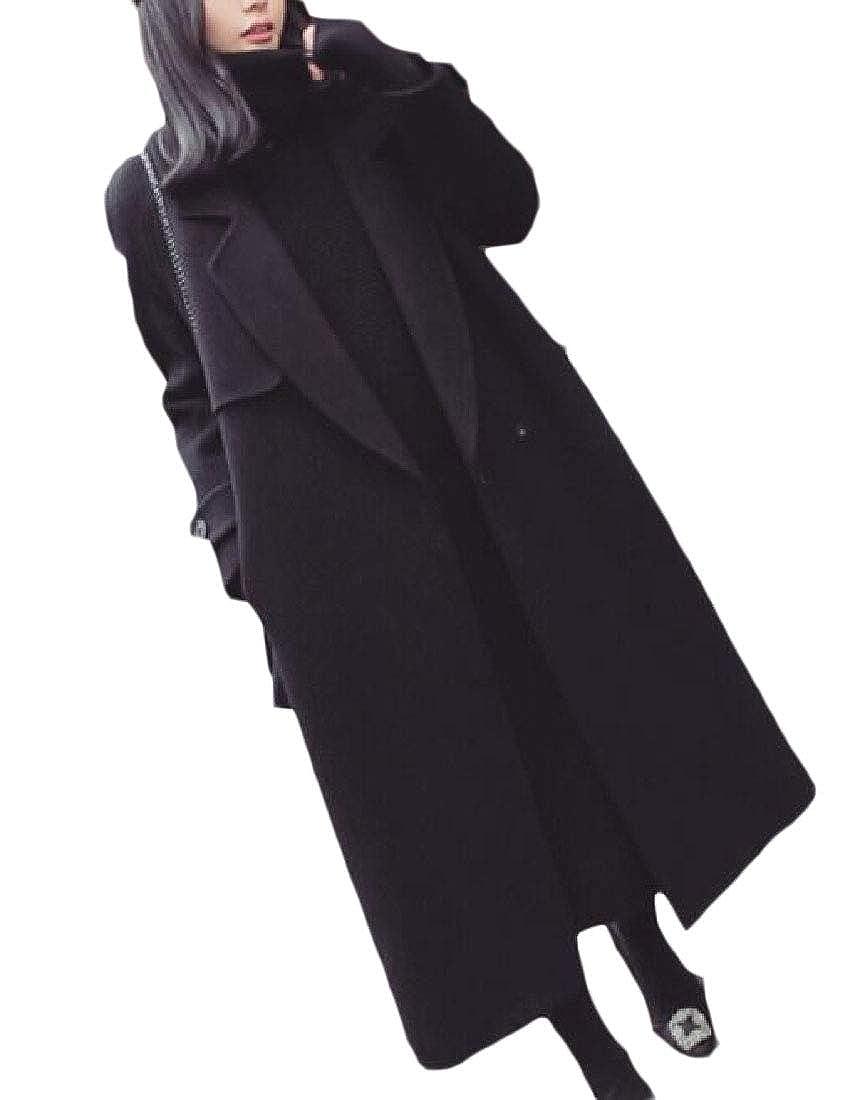 1 Keaac Women's Winter Pea Single Breasted Belted Lapel Maxi Outerwear Coat