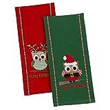 Design Imports Happy ''Owl''idays Embroidered Dishtowel - Set of 2
