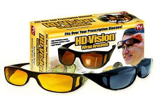 939340a3b56 Image Unavailable. Image not available for. Colour  HD Vision Wrap-Arounds  Night Sunglasses ...