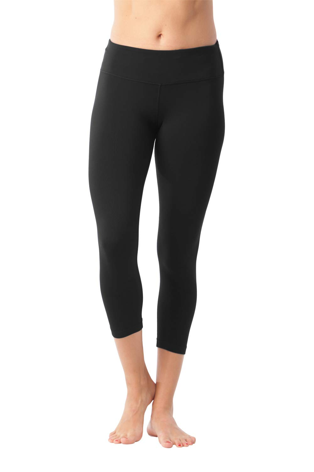 90 Degree By Reflex Yoga Capris - Yoga Capris for Women - Hidden Pocket, 22inch, Black, XS