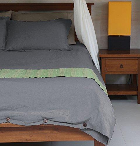 Oasis Fine Linens Vintage Washed Linen Duvet Cover Set (Full/Queen, Driftwood) - Linen Natural Brown Undyed