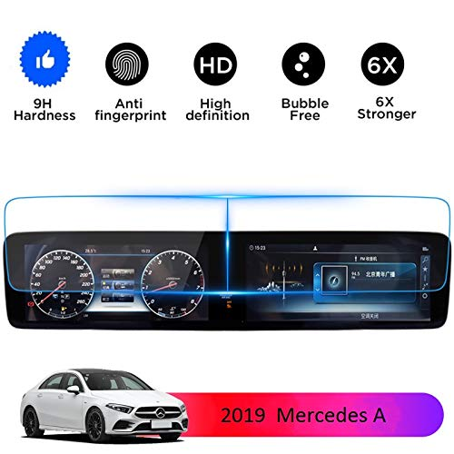 "2019 Mercedes Benz A Class Screen Protector Tempered Glass, Wonderfulhz,9H Hardness,Anti Fingerprint,High Definition,10.25"" Dashboard and Center Touch Screen Protector"