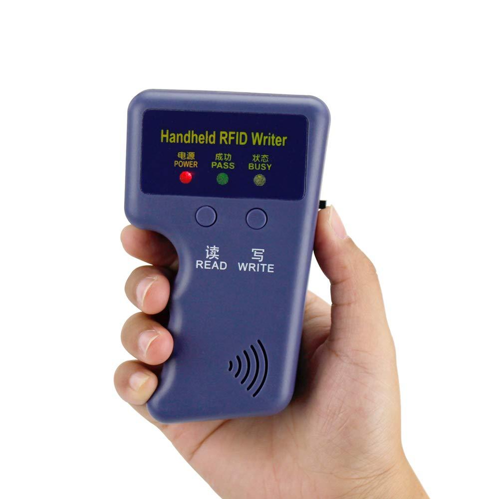 Escritor de lector de tarjetas de identificaci/ón RFID 125KHz de mano,copiadora RFID Lector EM4100 Programador de duplicador con 6 etiquetas grabables 6 tarjetas para el apartamento en casa Control