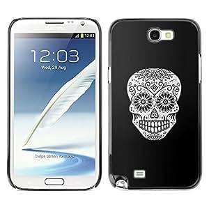 Samsung Note 2 N7100 , JackGot - Impreso colorido protector duro espalda Funda piel de Shell (Cráneo Negro floral blanco Muerte de Halloween)
