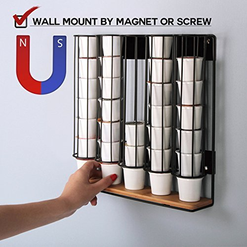 t Wall Mount Magnetic Bamboo for 35 K-Cup Dispenser Holder Organizer Stand Storage Box K Cup Holder with 5 Black Iron Compartments for Refrigerator Fridge - MK189B ()