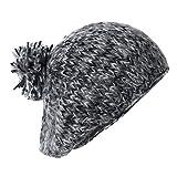 Black Mixed Color Vintage Beanie w/Pom, Comfy Slouch Beret Winter Hat, Retro Cap