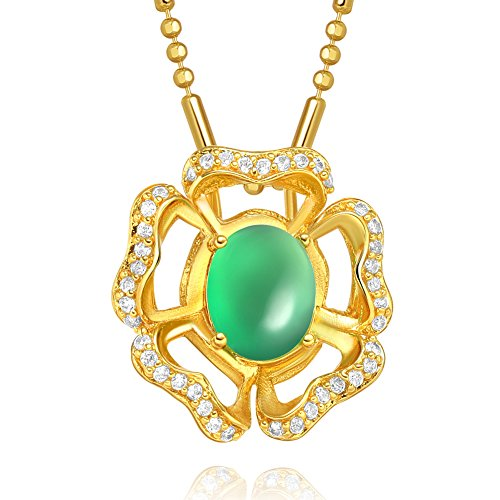 Fancy and Magical Lotus Flower Good Luck Amulet Gold-Tone Green Simulated Jade Crystals 18 Inch Necklace (Necklace Jade Flowers)