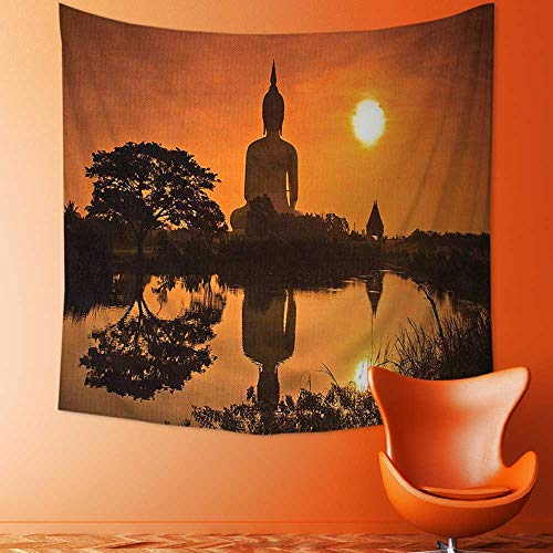 Printsonne Wall Hanging Tapestries Big Giant Statue by The River at Sunset Thai Asian Culture Scene Yin Bedroom Living Room Dorm Decor by Printsonne