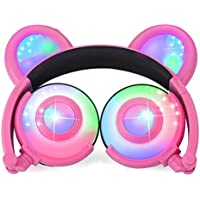 Bear Ear Headphones with LED Flashing/Glowing Lights. Daesly Kids Earphones. USB Rechargeable. Wired On/Over Ear Headsets 103dB+, Compatible with tablets, iPad, iPhone, Android, PC (Pink)
