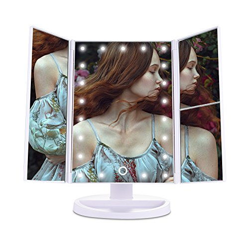 Tri-Fold Lighted Vanity Mirror with 21 LED Lights Touch Screen 1X/2X/3X Magnifying Makeup Mirrors, 2 Power Supply Modes