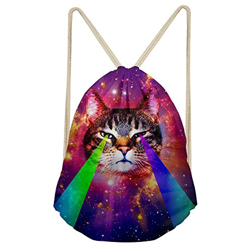 Coloranimal Fashion Galaxy Cat Pattern Drawstring Backpack Travel Bag Review