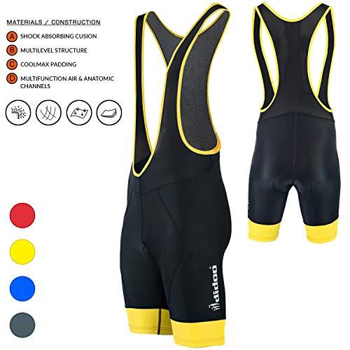 - Didoo Men's Cycling Bib Shorts, Comfortable Coolmax Padded Tights, Anti-Bac Breathable Moisture Wicking Biking Pants (Yellow, XXXL)