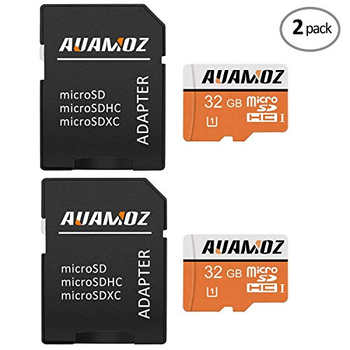 Micro SD Card 32GB,AUAMOZ Micro SDHC Class 10 UHS-I High Speed Memory Card for Phone,Tablet and PCs - with Adapter (2 Pack) by AUAMOZ