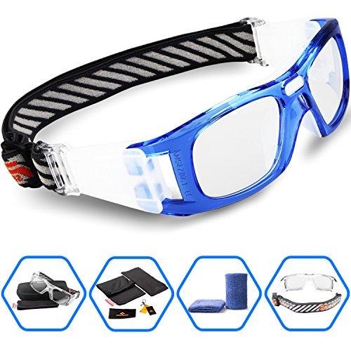 199a907a2a PONOSOON Sports Goggles Glasses for Basketball Football Volleyball Hockey  1827 (Sky Bule)