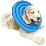 UsefulThingy Dog Recovery Collar - Soft Comfy Cone E-Collar After Surgery, Anti-Bite/Lick - for Cats Too, Quicker Healing - 4 Sizes, 2 Colors (M, Light Blue)