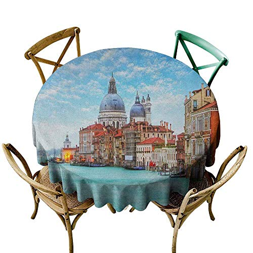 Tablecloth Italy Grand Canal and Basilica Santa Maria Della Salute Historical Architecture Blue Turquoise Orange Table Cover for Kitchen Dinning Tabletop Decoratio 43 INCH ()
