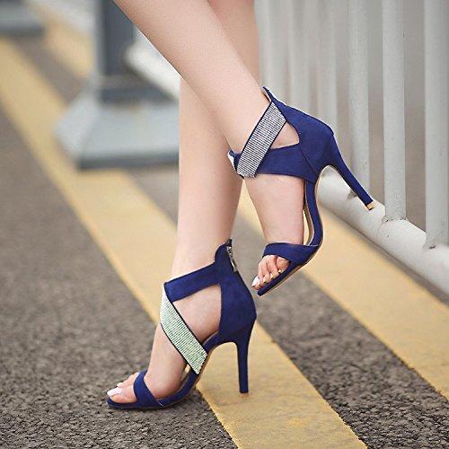 de cruzadas tacón zapatos tacones abierto correas sexy Los banquete imitación Red del femeninos sandalias ZHZNVX altos moda con del alto finos diamantes de pie de dedo Uv6w0x