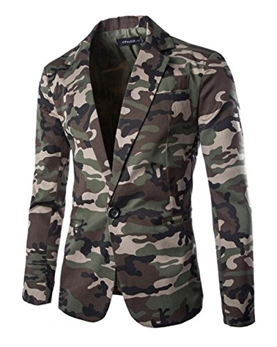 XIUWU Men's Fashion Camouflage blzers Turn Down Jackets Green L -