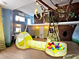 Woworld Foldable Set of 3 Rain Drop Kids Pop Up Play Tent with Tunnel and Ball Pit Children Train Playhouse Indoor Outdoor Raindrop Pattern Educational Toys for Boys,Girls,Babies and Toddlers(Yellow)