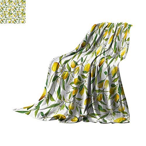 Custom homelife Digital Printing Blanket Nature,Flowering Lemon Woody Plant Romance Habitat Citrus Fresh Background,Fern Green Yellow White Print Artwork Bed or Couch 70