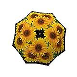 LA BELLA UMBRELLA Sunflower Designer Unique Art Travel Fashion Umbrella in Stylish Gift Box – Windproof Folding Automatic Open Close