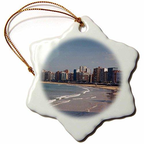3dRose Spain, Gijon, Playa De San Lorenzo Beach Eu27 Wbi1161 Walter Bibikow Snowflake Ornament, 3'' by 3dRose