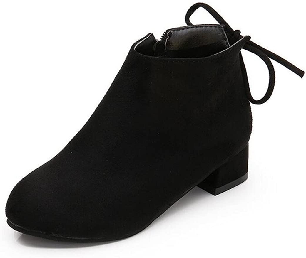 Bumud Little Girls Faux Suede Round Toe Low Heels Ankle Booties Boots Shoes 13 M US Little Kid, Black