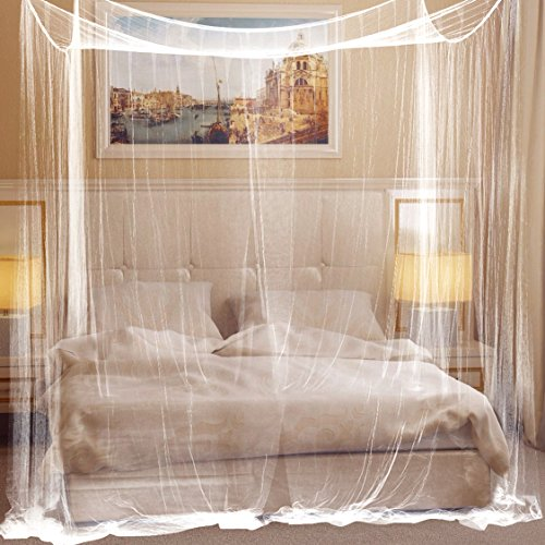 Mosquito Net for Bed by Redvant | Full Hanging Kit | Steel Hooks | Fit all bed sizes | 360 Holes/inch2 mesh | Spacious and light | Easy to set up |