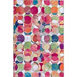 Decomall Waltz Abstract Geometric Modern Contemporary Multicolor Area Rug for Living Room, Bedroom, 5x7 ft, Red