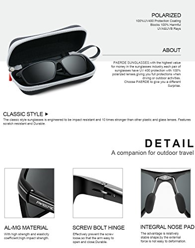78ccfccb000 PAERDE Men s Polarized Sports Sunglasses for men Driving Cycling Fishing  Golf Running Metal Frame Sun Glasses