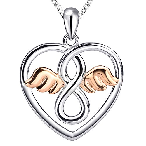 Apotie925SterlingSilver CharmAngelWings with Rose GoldLovelyHeartPendantNecklaceLuck Gifts Jewelry Long Chain forWomen