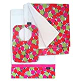 Modern Grace Bib, Burp Cloth and Receiving Blanket Set