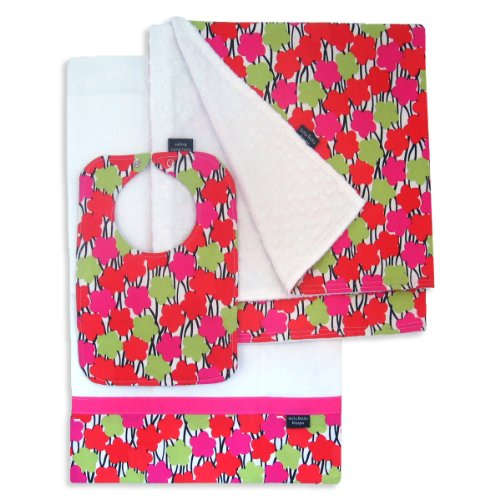 Modern Grace Bib, Burp Cloth and Receiving Blanket Set by Lucky Ducky Designs
