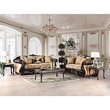 Amazon.com: Juego de sofá de chenilla y polipiel, diseño ...