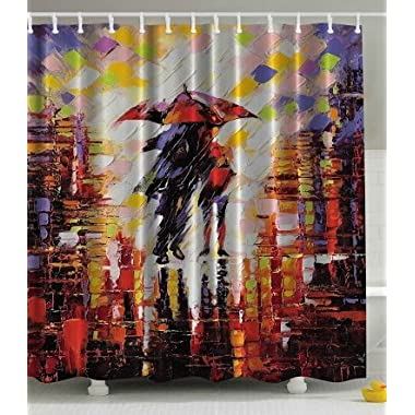Ambesonne Art Paintings Love Decor Collection, Cute Couple on a Rainy Day Brushstroke Watercolor Colorful Umbrella Shadow Emotional Romance Night Shower Curtain, Red Yellow Orange Black White Purple