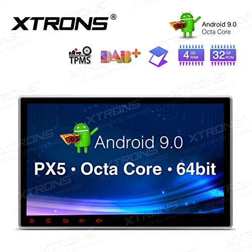 XTRONS 10.1 Inch Android 9.0 Car Stereo Radio DVD Player Universal Double Din GPS Navigator Octa Core 4G RAM 32G ROM Multi-Touch Screen Adjustable Viewing Angles Head Unit Supports OBD2 TPMS WiFi (Best Double Din Head Unit For Android)